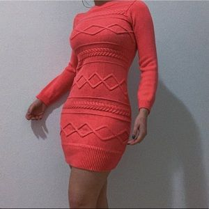 Thick salmon colored body on dress